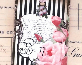 Shabby and Chic Gift Tags , Pink Rose on Black Stripes , Cottage Style , French Style , Birthday , Anniversary , All Occasion , Vintage Tags