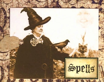 Halloween Tags - Vintage Witch - Spells