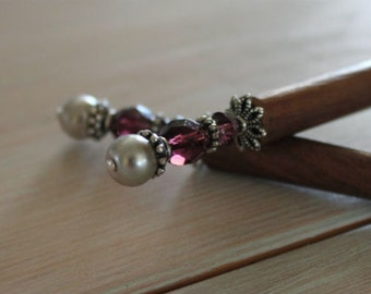 Silver and Amethyst Wood Hair Stick