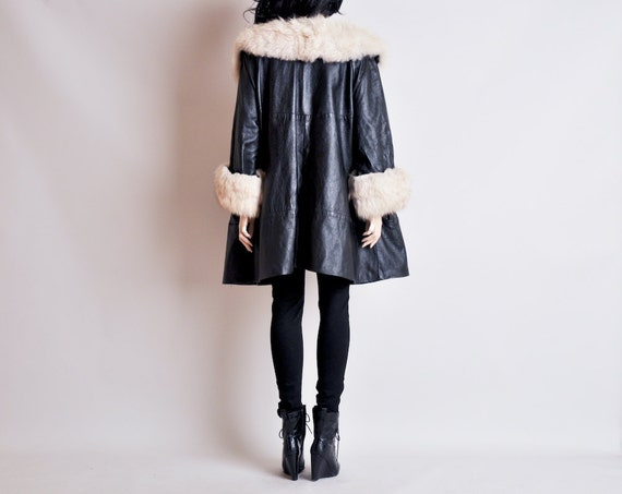 black leather fox fur collar swing coat / m / l / midnight city coat