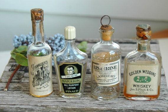Collectible . Decorative Whiskey Bottles . Primitive Halloween Decorations