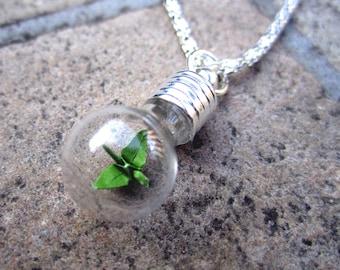 Origami Paper Crane Under Glass Necklace, Green Crane In A Bottle