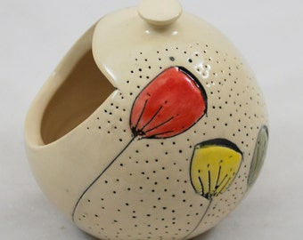 White Salt Pig or Cellar with Colorful Flowers Wheel Thrown Pottery