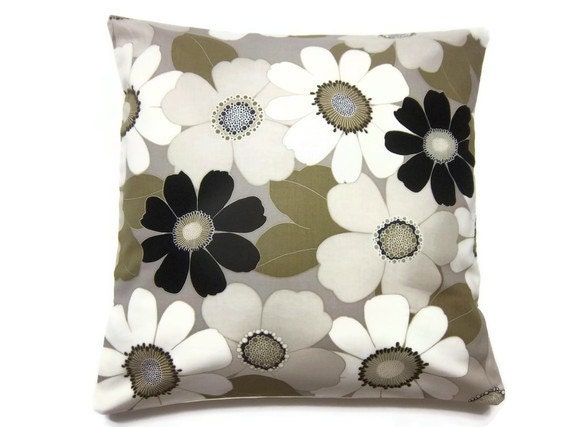Decorative Cream Pillows : Decorative Pillow Cover Taupe Gray Cream Black Bold Flower