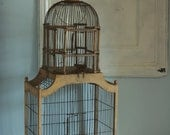 RESERVED for lizzielang. Vintage Victorian birdcage Wire and Wood Dome style