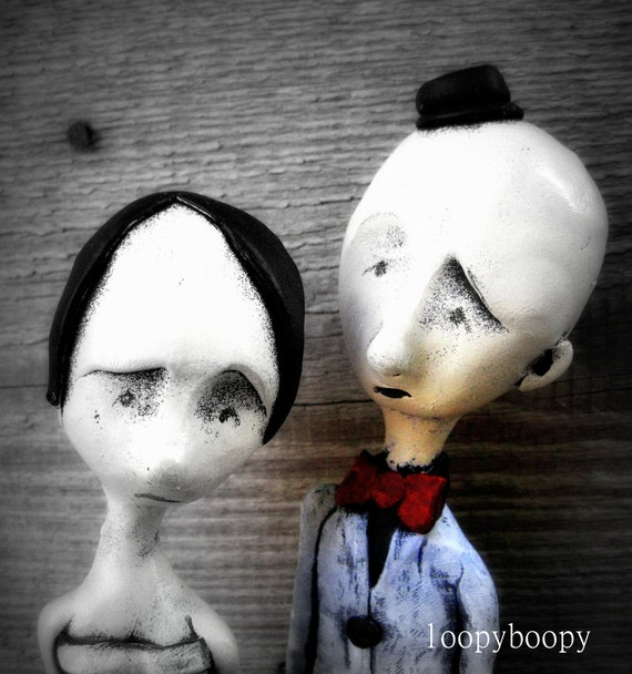 Loopy Wedding Cake Toppers Goth Dark Wedding By Loopyboopy On Etsy