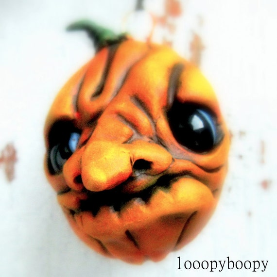 Halloween Pumpkin Ornament OOAK Angry Gourd RESERVED for GRIP