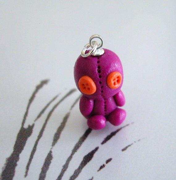 Sack Baby Charm Purple and Orange Button Eyes Polymer Clay