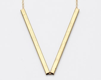 Vandam Brass V Shaped Geometric Necklace // Minimalist Art Lover Gift // Perfect Simple Jewelry Lover Gift