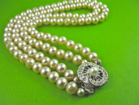 Vintage 50s Multi Strand Faux Pearl Necklace with Rhinestone Clasp