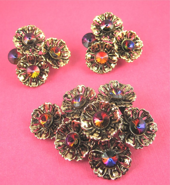 Vintage Gold Flower and Pink Rhinestone Flower Pin Brooch and Earrings