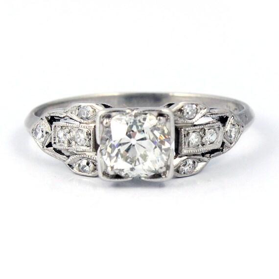 ON HOLD Platinum Art Deco Filigree European Cut Antique Diamond Engagement Ring