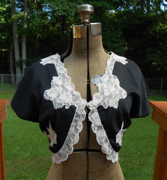 XS Black Satin Bolero Jacket Lace