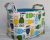 Fabric Organizer Storage Container Bin Basket - Urban Zoologie -  Owls in Blue