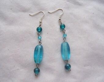 SALE! Blue and Aqua Beaded Earrings