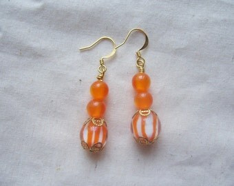 SALE! Orange Stripe Dangle Earrings
