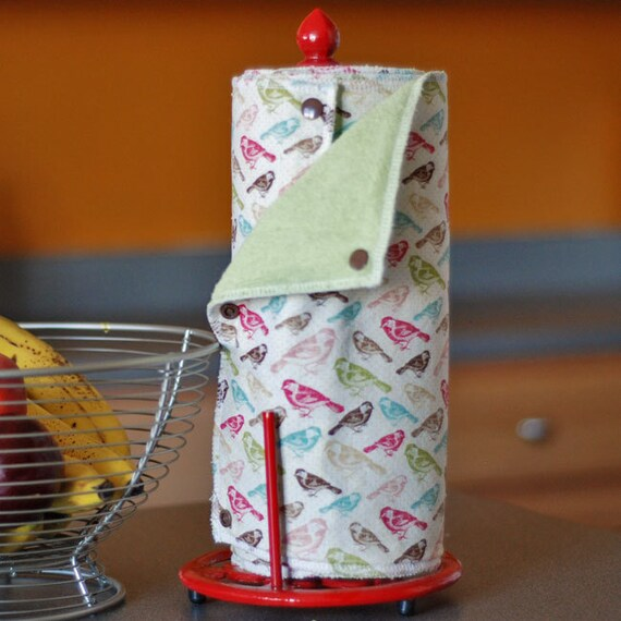 Ready-to-Ship - Reusable, Eco Friendly Snapping Paper Towel Set - Aviary - Cotton and Terry Cloth
