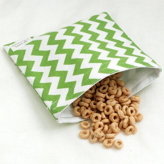 Chevrons (Grass Green) - Medium Reusable Sandwich Bag from green by mamamade