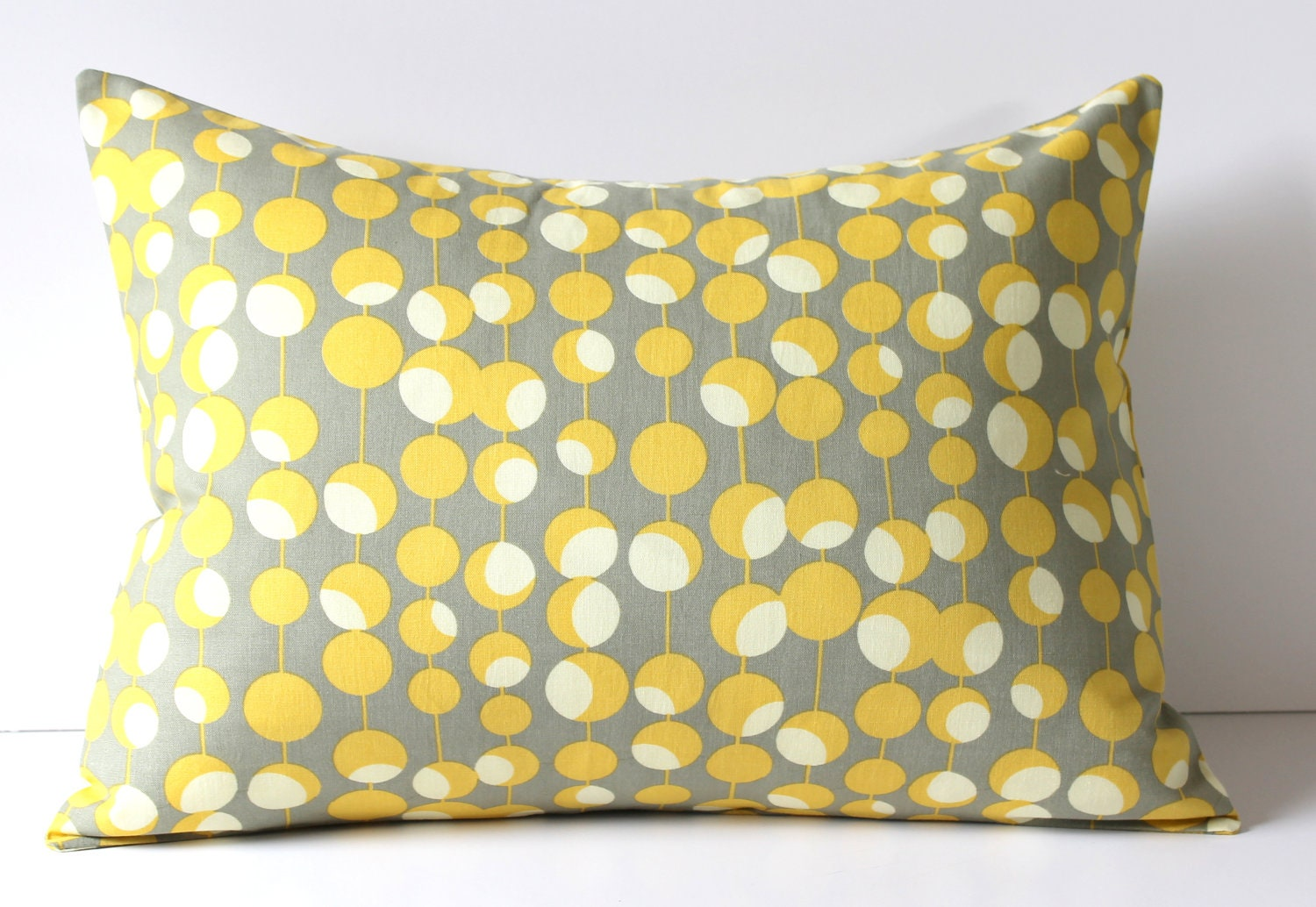 Decorative Pillow Cover Gray & Mustard Yellow Martini Dots
