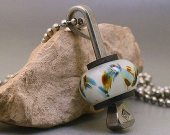 White Boro Borosilicate Glass Bead Equestrian Horseshoe Nail Pendant