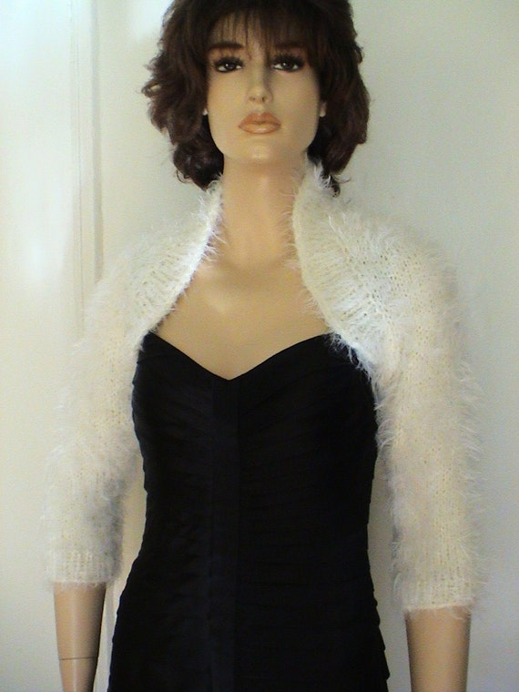 Hand Knit Cream Ivory Angora Bridal Bolero Shrug Great For
