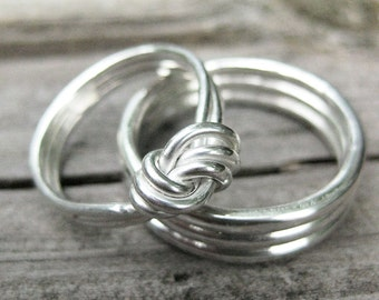 KNOT ring SET sterling silver ring Made to Order alternative knotted wedding bands