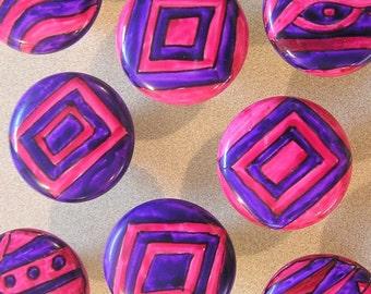 SEVEN pink n purple FUNKY handpainted knobs- SALE