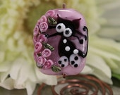 Lampwork Glass Bead Focal Black Cat on Pink, Roses