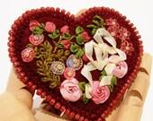 Silk Ribbon Embroidered Heart Brooch, Handmade