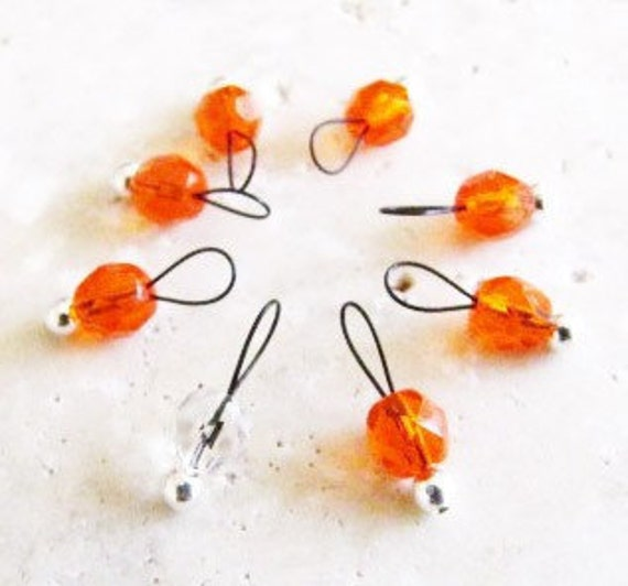 Snag Free Stitch Markers Extra Small Set of 8 Clear Faceted Orange -- J41-- Fits up to size US 4 (3.5mm) Knitting Needles
