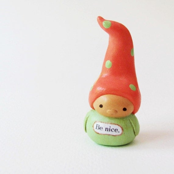 Wee Gnome Figurine- Miniature Handmade Clay Art Sculpture- Collectible Waldorf Figure by humbleBea