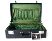 Vintage Black Leather Suitcase with Green Interior