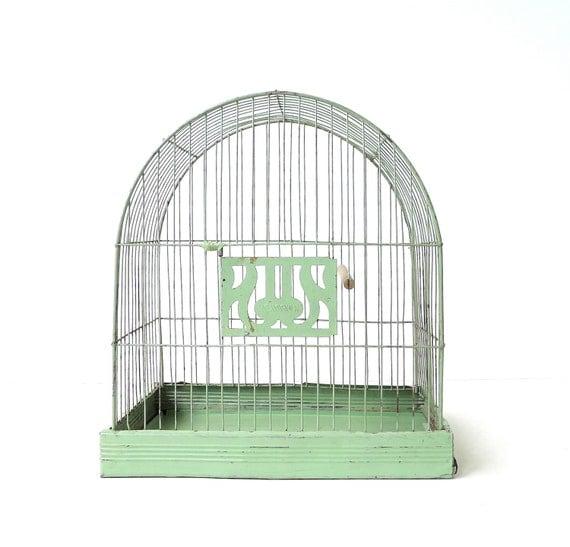 Vintage Hendryx Pale Green Bird Cage Birdcage