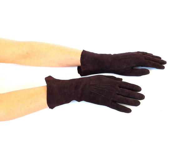 Brown Suede Gloves Made in France
