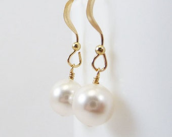 White pearl earrings BELLE Bridal jewelry Wedding Bridesmaid Swarovski Gold Filled