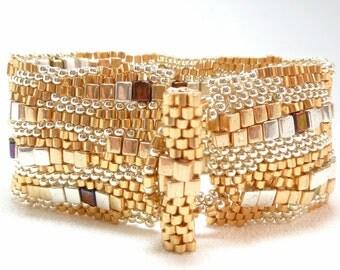 Angels in Heaven Beadwoven Sculptural Freeform Cuff Bracelet