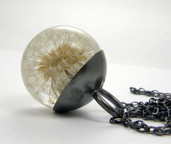 Dandelion Resin and Silver Necklace, Small Dandelion pendant, dandelion necklace
