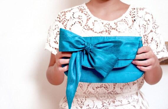 Bridesmaids gift idea, Silk wedding clutches, Peacock blue