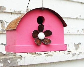 Rustic Birdhouse Raspberry Pink with Metal Flower