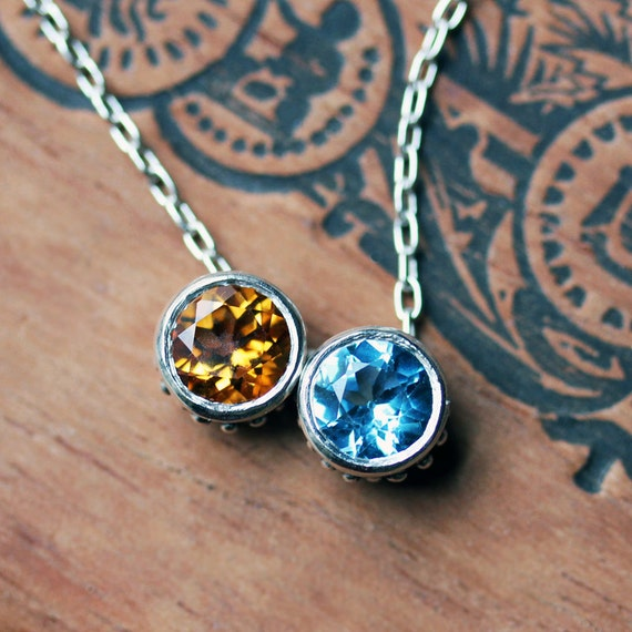 Birthstone necklace for mom, twin necklace, couple necklace, two stone necklace for wife, solitaire necklace, bezel necklace, Wrought custom