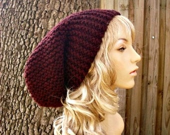 Oversized Beanie Hat Burgundy Hat Slouchy Beanie Knit Hat Womens Hat - Slouchy Hat Red Hat Red Beanie Womens Accessories