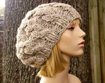 Knit Hat Womens Hat Slouchy Hat - Oatmeal Cable Beret Hat in Oatmeal Knit Hat - Oatmeal Hat Chunky Knit Hat Womens Accessories Winter Hat