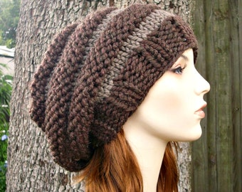 Knit Hat Womens Hat Slouchy Beanie - Oversized Beehive Beret Hat in Taupe and Brown Knit Hat - Womens Accessories