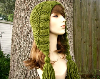 Knit Hat Womens Hat Knit Hood Green Ear Flap Hat - Tassel Hat in Olive Green Knit Hat - Green Hat Green Hood Womens Accessories Winter Hat