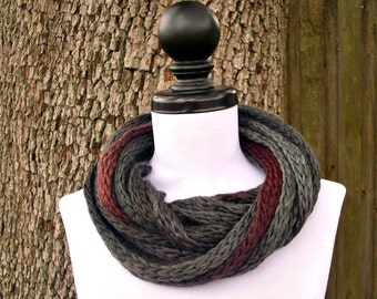 Circle Scarf Infinity Scarf Knit Cowl - Infinity Cowl in Rhino Charcoal Grey Cowl - Grey Scarf Grey Cowl Womens Accessories - READY TO SHIP