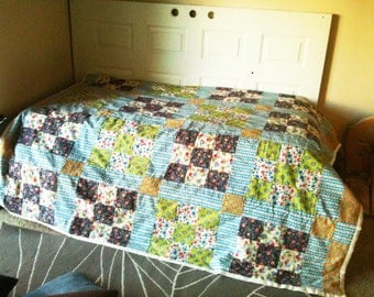 Vintage Funky Fifties Nine Patch Quilt Top Hand Tied and Like New Heirloom