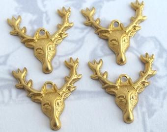 Brass Deer Head Charms (4X) (M595)