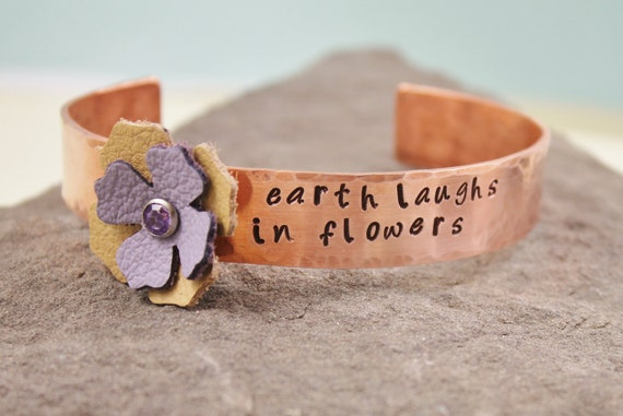 Earth Laughs In Flowers Copper And Leather Cuff Bracelet