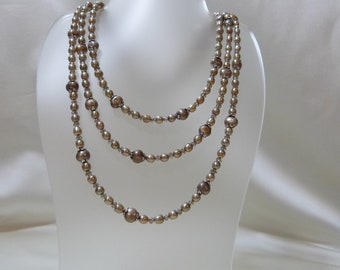 Taupe Crystal and Pearl Triple Strand Necklace