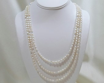 White Rice Freshwater Pearl 3 Strand Necklace